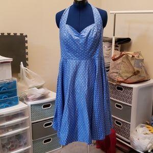 Blue vintage polka dot swing dress